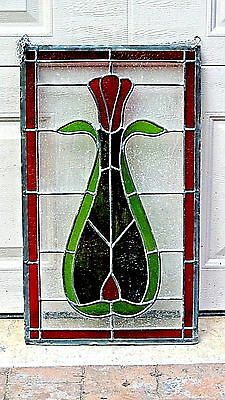 Antique Leaded Stained Glass Ornamental Panel /window W/tulip Flower In A Vase