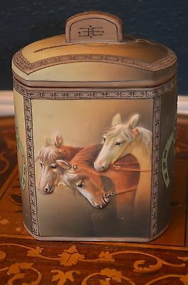 """Gorgeous Nippon  8"""" Humidor Molded Relief Blown-out Three Horses Heads mark#47"""