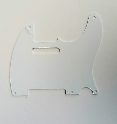 White Telecaster 5 Hole Pickguard Scratch plate Vintage Style One Ply