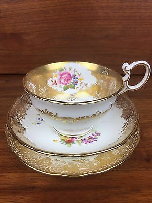 Stunning Antique Hammersley Cup Saucer And Plate Set Trio Gold Pink Rose Fancy