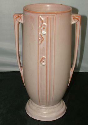"RARE Antique 1930'S ART DECO Roseville Pottery MODERNE Vase 802-12"" Oyster White"
