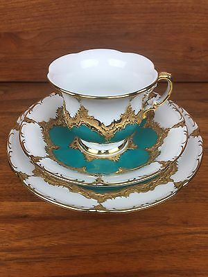 Gorgeous Antique Green And Gold Meissen B Form Tea Cup Saucer Plate Set Trio
