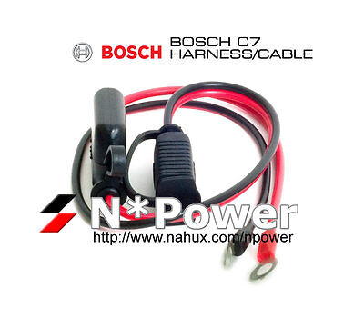 Bosch 12V & 24V C7 Battery Charger Quick Connector Harness Cable Built-In Fuse