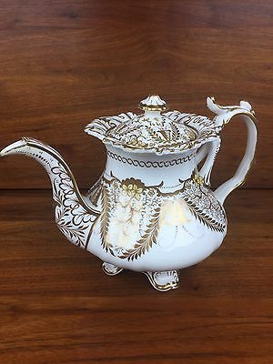 Antique Rococo Footed Teapot Tea Pot White With Gold Filigree Coalport Limoges?