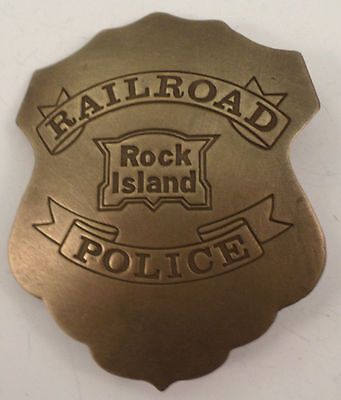 Embossed Rock Island Railroad Police Solid Brass Badge Pin #172