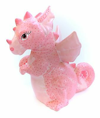 Vintage Pink Ceramic Dragon Figurine Statue Kawaii Fairy Kei 80s Figure CUTE Htf