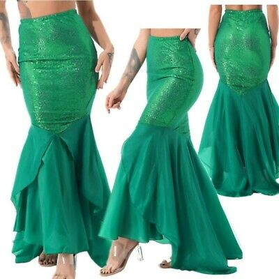 Womens Ladies Bodycon Fancy Party Costume Mermaid Tail Skirt Long Maxi Dress