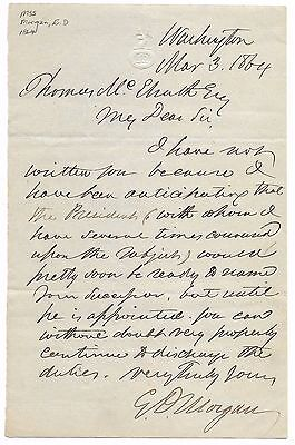 Antique 1864 NEW YORK SENATOR EDWIN D MORGAN CIVIL WAR Autograph LETTER Document