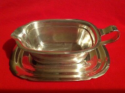 REED and BARTON STERLING SILVER gravy sauce boat and underplate- FREE SHIPPING