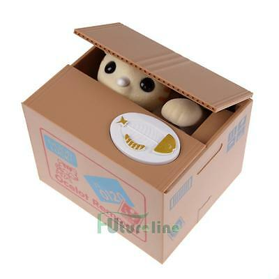 Cute Lovely Automated Stealing Coins Cat Saving Money Box Piggy Bank Yellow