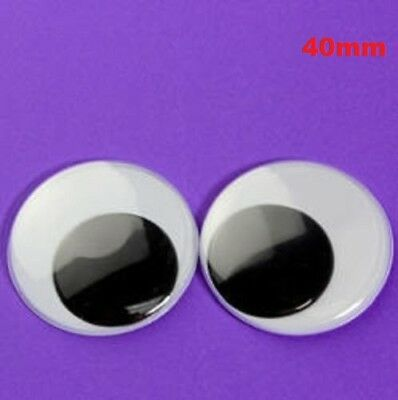 40mm Joggle Moveable Black Eye Wiggly Google Googly Eyes Craft Stick On Art DIY