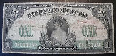 Dominion of Canada 1917 1 dollar note - DC-23b - Nice note
