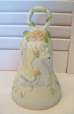 White Pink Green Bisque Porcelain Pegasus Winged Horse Bell Vintage 5 1/2""