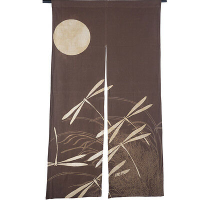 Country Brown Cotton Dragonfly Under The Moon Decorative Door Curtain 150*85 CM