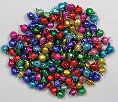 BB TINY CHRISTMAS BELLS MIXED COLOURS  6mm pk of 50 craft jingle bell xmas