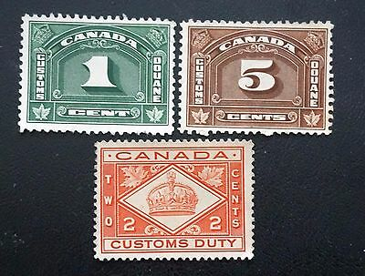 CANADA CUSTOMS    LOT of 3 OLD CUSTOMS stamps    used