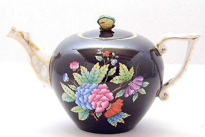 Herend Queen Victoria Black Miniatur Teapot,brand New Boxed,extreme Rare