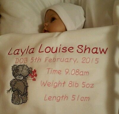 Baby - Personalised Babies Birth Blanket - Keepsake - Embroidered