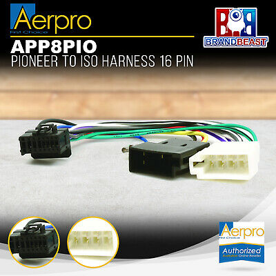 Aeropro Pioneer To Iso Connector Plug Harness 16 Pin For Deh-p6850mp Wiring Loom