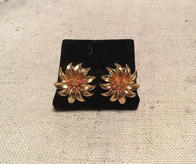 Tiffany & Co. Vintage Authentic 18k Yellow Gold & Ruby Marigold Flower Earrings