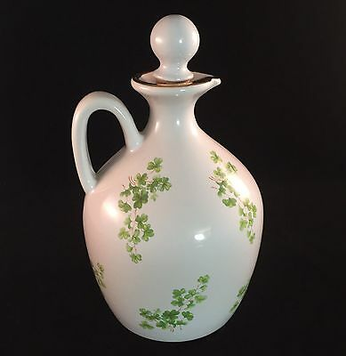 Wade White Ceramic Jug with Clover Shamrocks Cork Stopper Top Porcelain