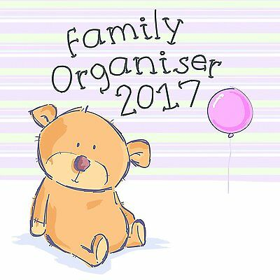 Cute Teddy Bear Theme Family Organizer, Planner, & Scheduler 2017 Monthly Wall x