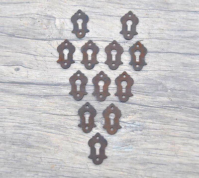 12 pcs Vintage Iron Drawer Dresser Jewelery ESCUTCHEON Key hole Cover