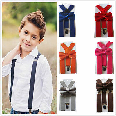 Baby Toddlers Solid Suspender and Bow Tie Set Boys Girl Adjustable Ties Outfits