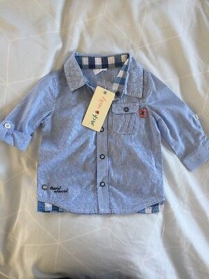 Jack & Milly Baby Designer Boys Smart Formal Shirt Size0/6-12 months blue stripe