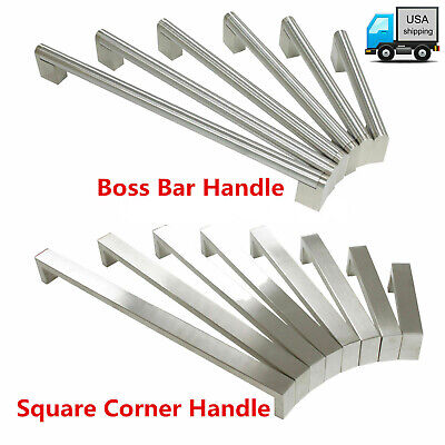 Boss Bar/Square Kitchen Cabinet Handles Door Drawer Pulls Knobs Stainless Steel