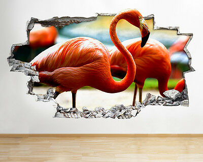 R549 Flamingo Bird Animal Bedroom Smashed Wall Decal 3D Art Stickers Vinyl Room