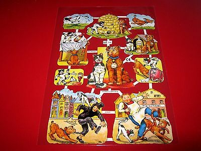 Vintage Style Die Cut  Paper Scraps Cartoon Cats And Dogs New