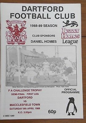 Dartford V Macclesfield Tn. (F.a. Trophy Semi-Final) Football Programme 8-4-1989