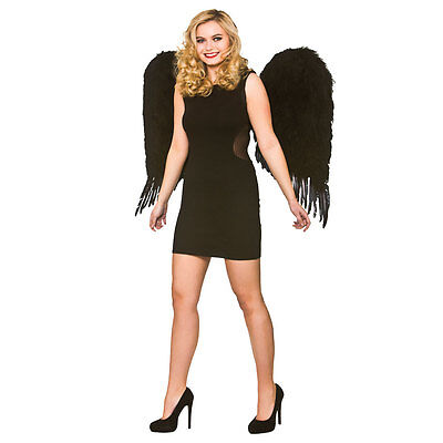 Deluxe Large Feather Wings - Black for Fairy Angel Fancy Dress