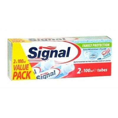 THREE PACKS of Signal Family Protection Fluoride Toothpaste 2 x 100ml Tubes