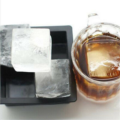 Big Giant ICE 4 Cubes Moulds Maker Freezer Square Mold Chill Drink Silicone Tray