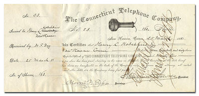 Connecticut Telephone Company Stock Certificate Signed by Gov. Marshall Jewel
