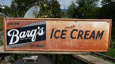 "1950's Barq's Root Beer Soda- ICE CREAM 54 x 17"" Metal Advertising Sign-Dairy"