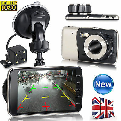 1080P HD Car DVR Dual Lens Camera Video Recorder Rearview Dash Cam G-sensor UK