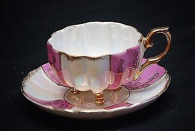 Old Vintage Lusterware China 3 Footed Cup & Saucer Set Pink w Gold Design Trim