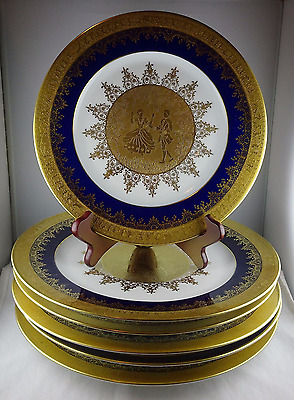 6 Pieces of Selb Bavaria Heinrich Porcelain Gold & Cobalt - 5 Chargers, 1 Plate