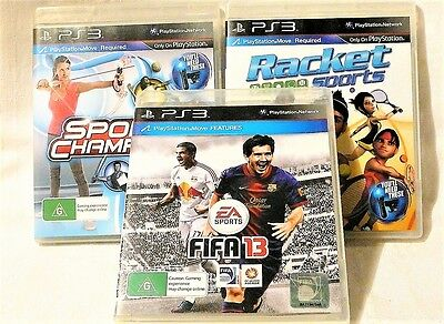 """Ps3 Sports Bundle, 3 X Playstation Move Games """"preowned"""" Auz Seller"""