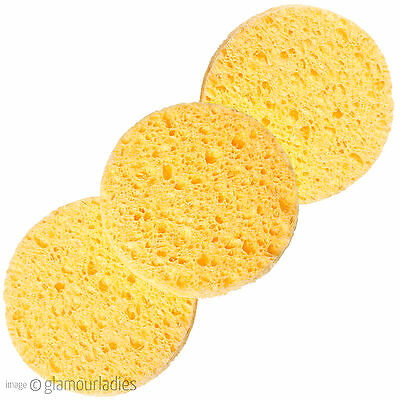 HIVE OF BEAUTY 3 x Round Cosmetic Facial Exfoliating Cleansing Toning Sponges