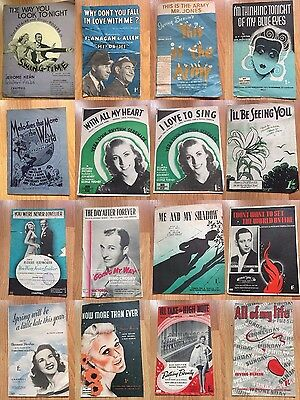 Vintage Sheet Music 1940's musicals wartime songs etc