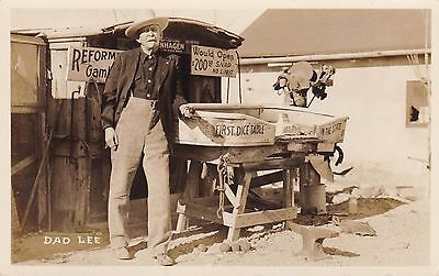 Nevada USA  - real photographic postcard - DAD LEE - first dice table in State