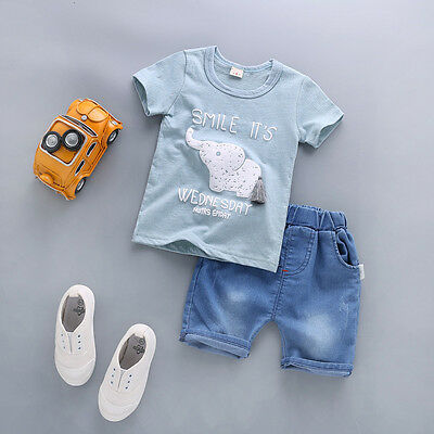 2pcs Toddler Baby Boys Elephant T-Shirt tops+Shorts Summer Casual Clothes Sets