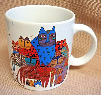"Colorful LAUREL BIRCH 12 oz CAT MUG - 1993 ""I Love Cats"" - Signed"