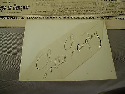 Lillie Langtry Autographed Card....