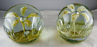 Rare Pair Of Ed St. Clair Studio Art Glass Floral Large Paperweights