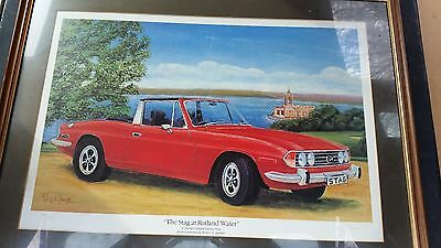 Triumph Stag Limited Edition Print, Signed Watercolour & Original 1970's Poster